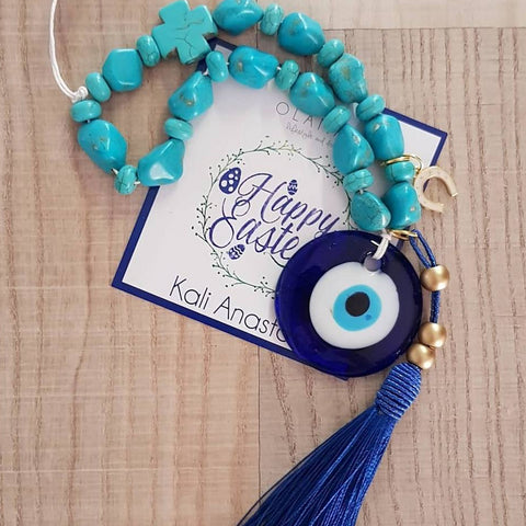 Blue mati wall hanging with navy tassel and horse shoe - Easter collection