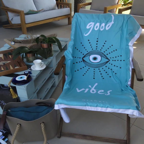 "Turquise blue ""Good Vibes"" microfibre mati towel"