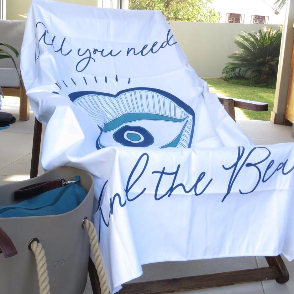 """All you need is love and the beach"" White microfibre mati towel"