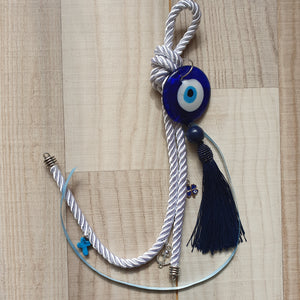 White gouri with navy tassel, anchor, blue cross and clover