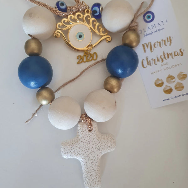 2021 Blue and white beads with cross and eyelash mati Wall hanging