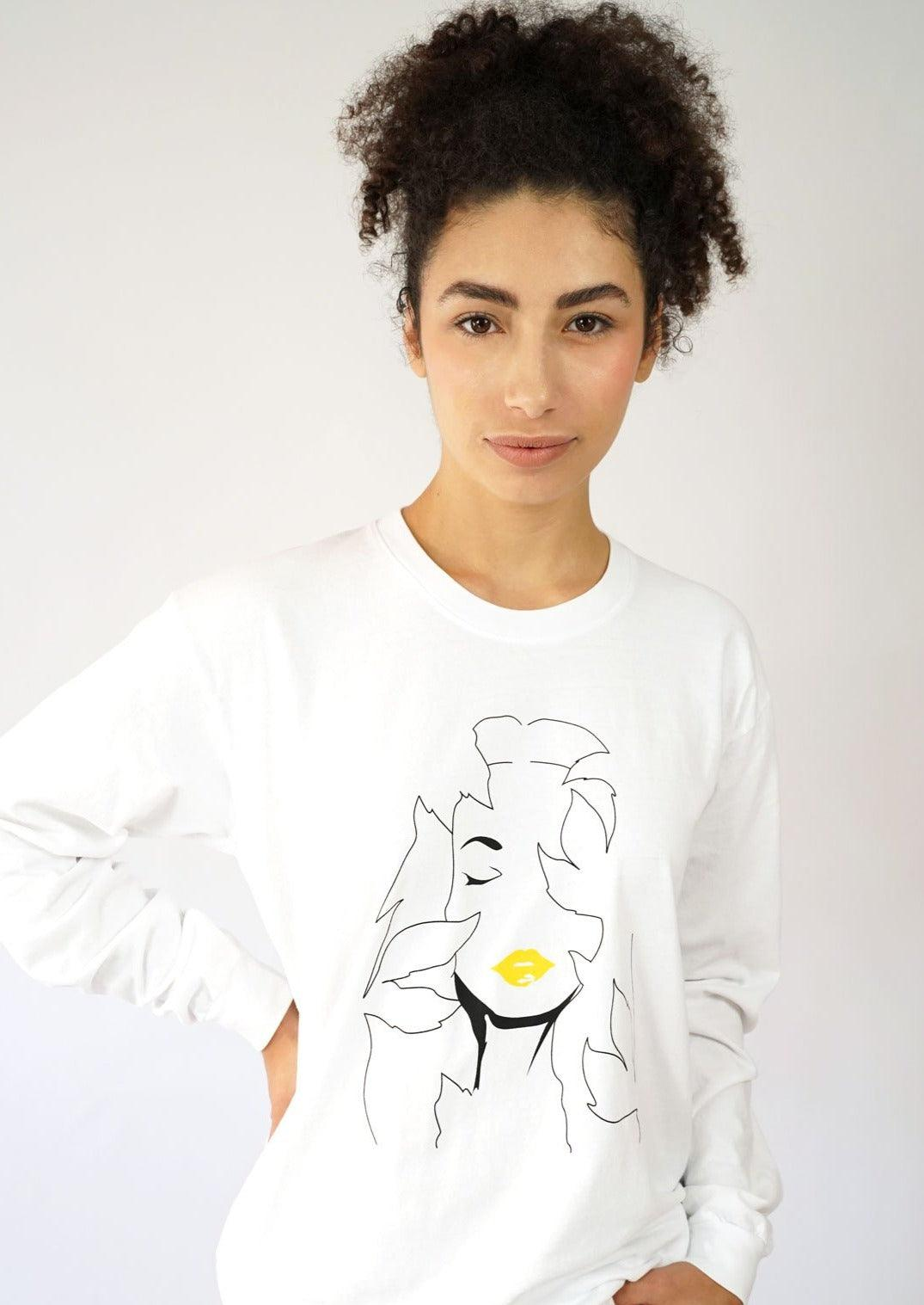 White recycled cotton long sleeve tshirt with artwork. Mother nature unisex graphic tshirt.