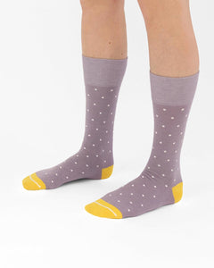 Sustainable socks with yellow toes. Polka dot socks made in the USA