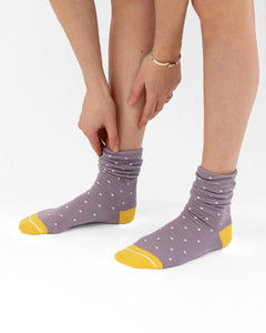 Ecofriendly socks. Lilac and yellow slouch socks made from REPREVE