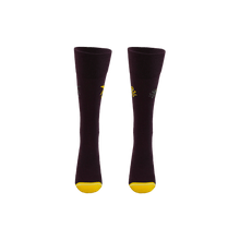 Load image into Gallery viewer, Sustainable socks for women. Dark purple long socks with yellow toe and heel. Shark and octopus patterned socks.