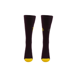 Sustainable socks for women. Dark purple long socks with yellow toe and heel. Shark and octopus patterned socks.
