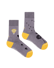 Load image into Gallery viewer, Light purple eco friendly socks for women. Made from Repreve recycled polyester. Yellow and purple sustainable socks.