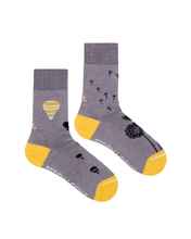 Load image into Gallery viewer, Light purple crew socks. Womens ecofriendly socks in light purple. Hot air balloon, bumble bee, pirate-ship and starfish patterned socks.