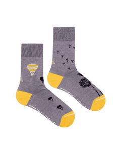 Light purple crew socks. Womens ecofriendly socks in light purple. Hot air balloon, bumble bee, pirate-ship and starfish patterned socks.