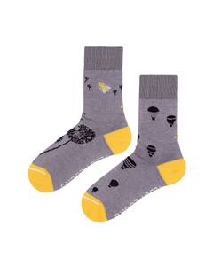 Ecofriendly socks made from recycled plastic in the USA. Repreve socks for women. Light purple and yellow socks.