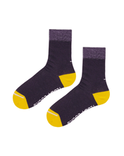 Load image into Gallery viewer, Dark purple socks. Ecofriendly socks with yellow toes.