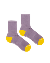 Load image into Gallery viewer, Sustainable socks. Unisex ribbed socks in lilac with yellow toes