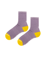 Load image into Gallery viewer, Colorful sustainable socks. Purple and yellow ribbed crew socks