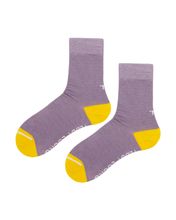 Load image into Gallery viewer, Lilac crew socks with yellow toe and heel. Socks made in the USA from recycled plastic bottles.