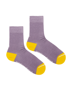 Teddy Locks Lilac crew socks for spring. Yellow and purple socks made from recycled plastic bottles