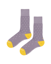 Load image into Gallery viewer, Recycled socks in lilac. Socks with yellow toes and lilac and white polka dots.