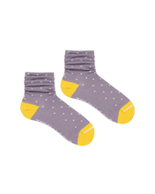 Load image into Gallery viewer, Sustainable slouch socks. Lilac socks with yellow toes.