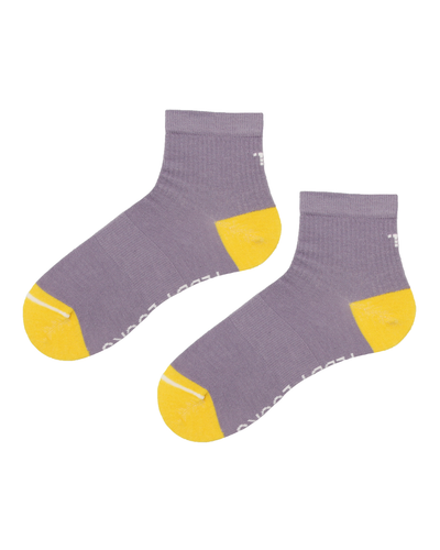 Lavender and yellow quarter length socks. Yellow toe and heel socks made from recycled plastic bottles