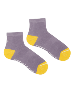 Ecofriendly Lilac rib quarter socks made in the USA from recycled plastic bottles