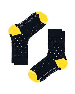 Recycled socks made in the USA. Navy and yellow socks with polka dots.