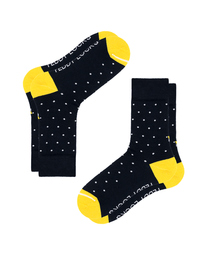 Navy Blue Polka Dot Crew Socks. Yellow Toe Socks. Made in the USA from Recycled Plastic Bottles