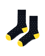 Load image into Gallery viewer, World's best sustainable socks. Navy Polka Dot crew socks with yellow toe and heel