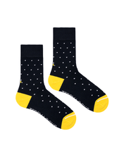 Load image into Gallery viewer, Navy Blue Polka Dot Crew Socks. Yellow Toe Socks. Made in the USA from Recycled Plastic Bottles