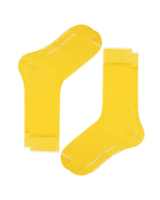 Load image into Gallery viewer, Mens crew socks in yellow with white detailing. Teddy Locks signature yellow socks.