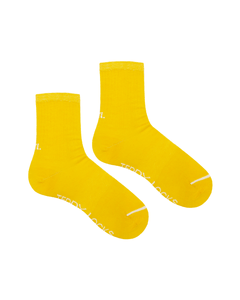 Yellow Ribbed Crew Socks