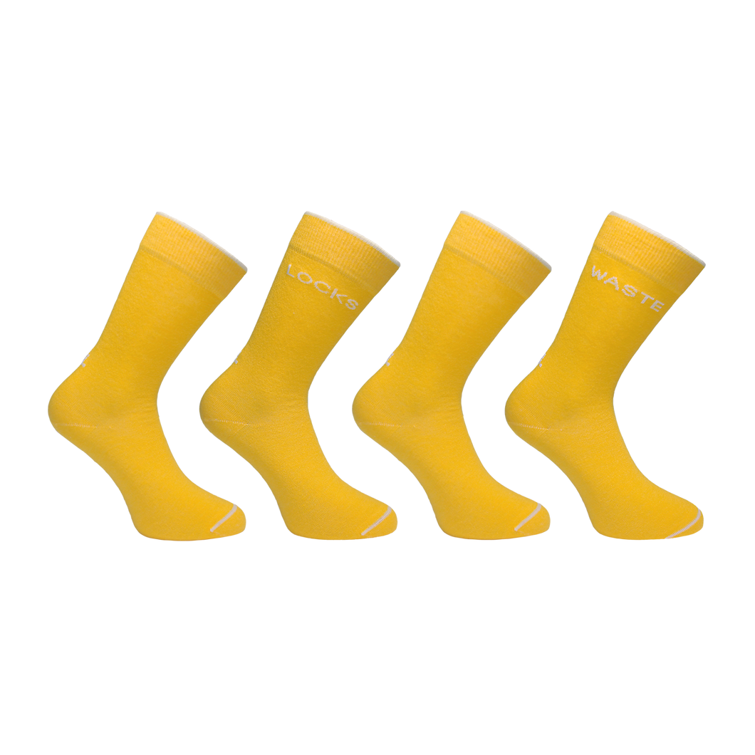 Ecofriendly socks made from recycled plastic in the USA. Repreve socks for women. Yellow and white socks.