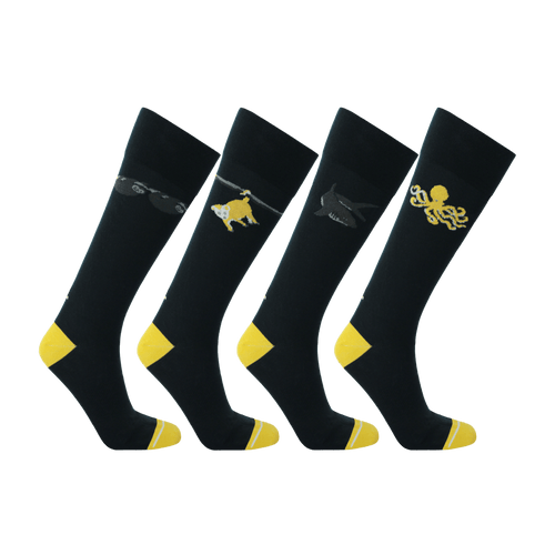 Navy blue socks made from Repreve in the USA. Recycled polyester socks for men. Dress socks in dark blue and yellow.