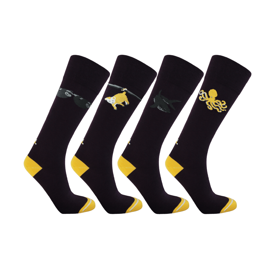 Womens long socks. Dark purple and yellow socks for women. Ecofriendly socks with sloth opossum shark and octopus patterns.