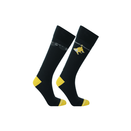 Sustainable socks for men. Men's navy long dress socks. Fun socks for men. Gifts for him. Sloth socks. Opossum socks.