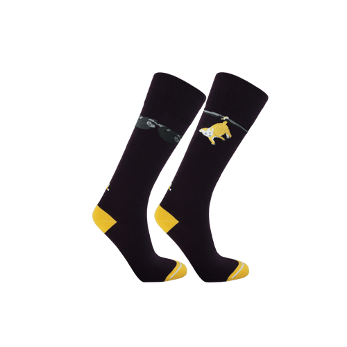 Womens Sustainable socks. Dark purple and yellow socks. Sloth and opossum patterned socks for women.