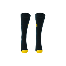 Load image into Gallery viewer, Dark blue and yellow mens long socks. Shark and octopus socks.