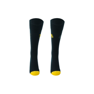 Dark blue and yellow mens long socks. Shark and octopus socks.