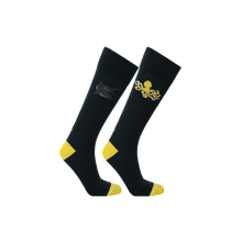 Load image into Gallery viewer, Navy blue and yellow eco-friendly socks for men. Shark and octopus pattern socks.