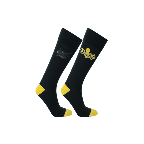 Navy blue and yellow eco-friendly socks for men. Shark and octopus pattern socks.