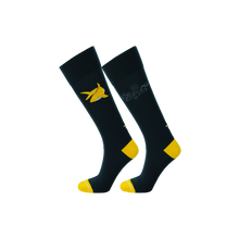 Load image into Gallery viewer, Navy dress socks with yellow toe and heel. Dark blue ecofriendly socks with shark and octopus pattern.