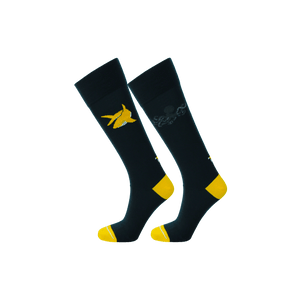 Navy dress socks with yellow toe and heel. Dark blue ecofriendly socks with shark and octopus pattern.