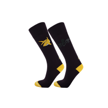 Load image into Gallery viewer, Long trouser socks for women. Ecofriendly socks in dark purple and yellow wit shark and octopus patterns.
