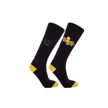 Load image into Gallery viewer, Womens long socks in dark purple and yellow. Shark and octopus patterned socks for women.  Ecofriendly socks by Teddy Locks.