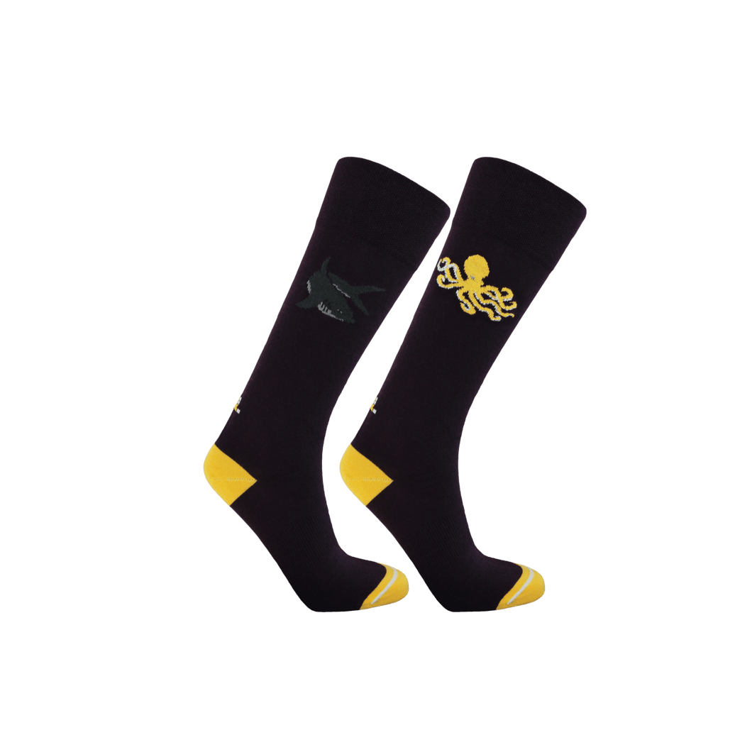 Womens long socks in dark purple and yellow. Shark and octopus patterned socks for women.  Ecofriendly socks by Teddy Locks.