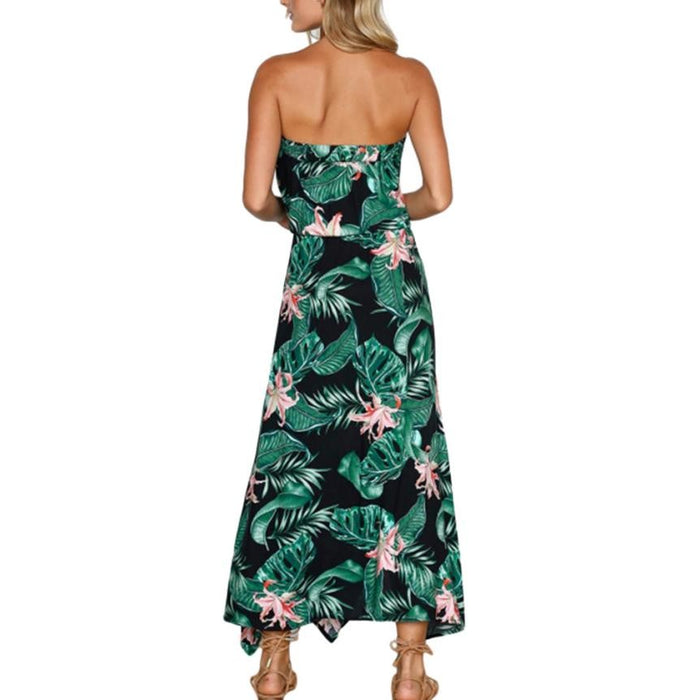 Boho Tropical Floral Print Dress