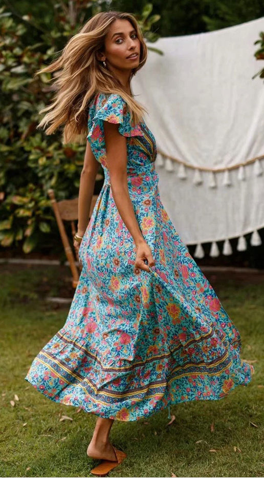 Short Sleeve Flower Boho Dress