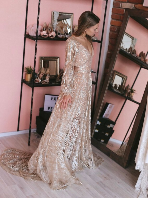 Sequin Long Sleeve Boho Dress