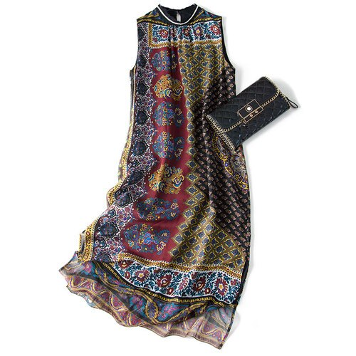 Ethno Style Natural Silk Sleeveless Dress