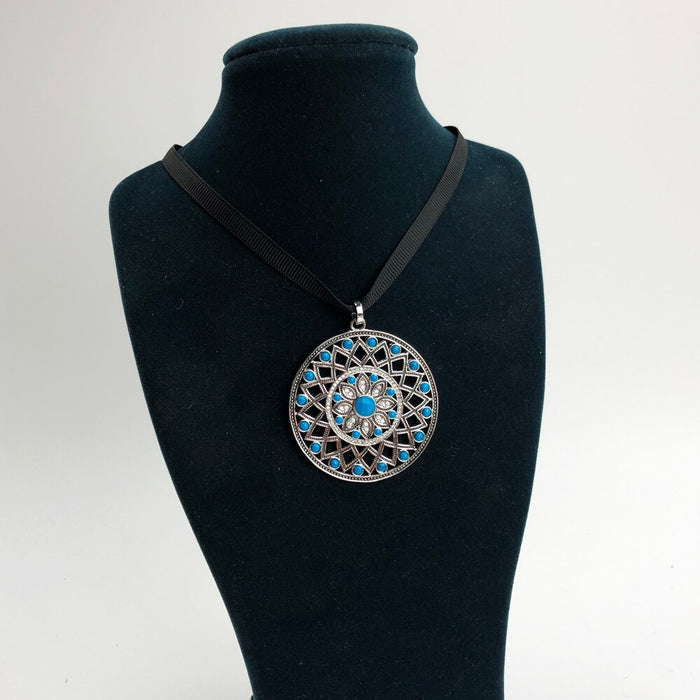 Ethno Blue Ornament  Necklace