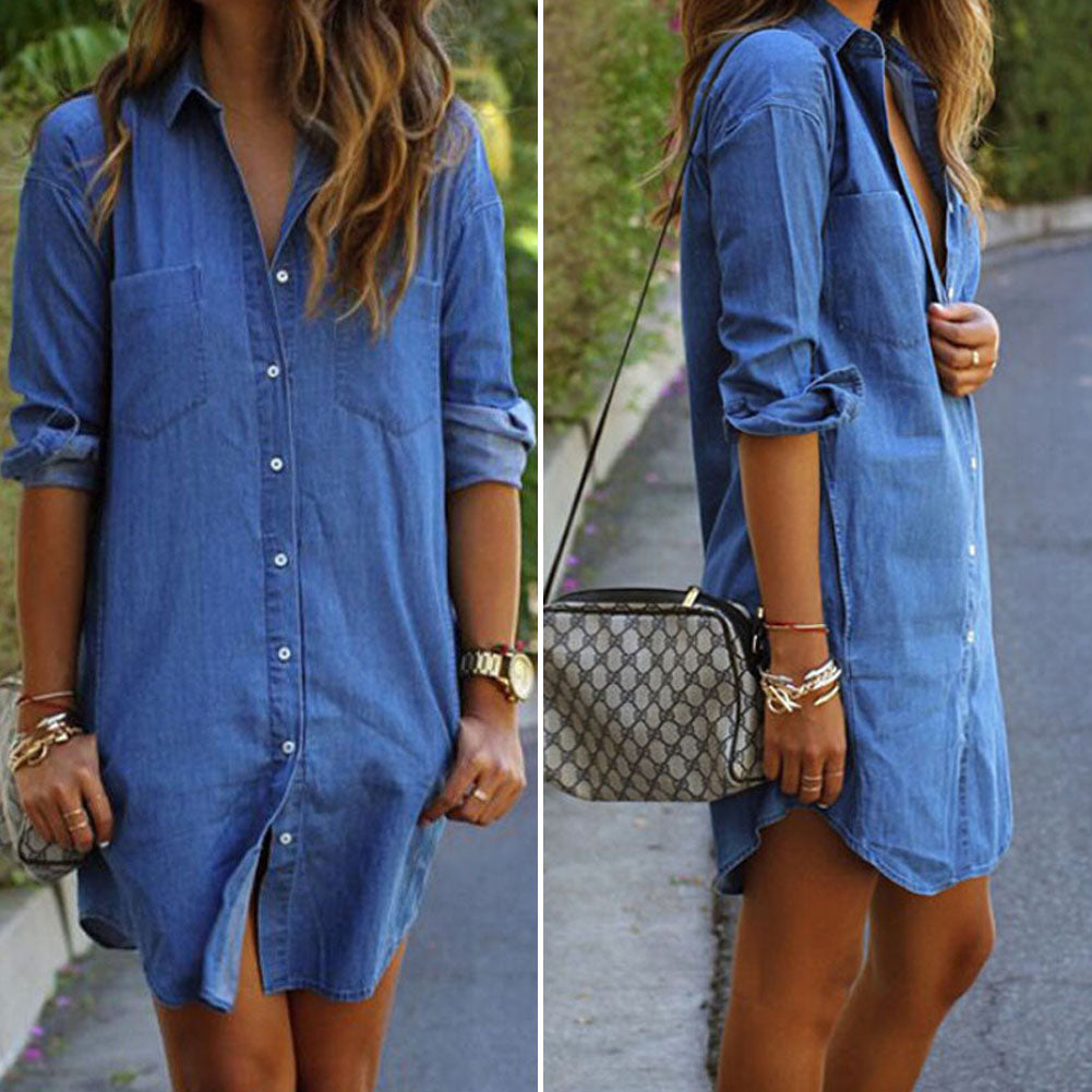 Solid Blue Long Sleeve Denim Dress