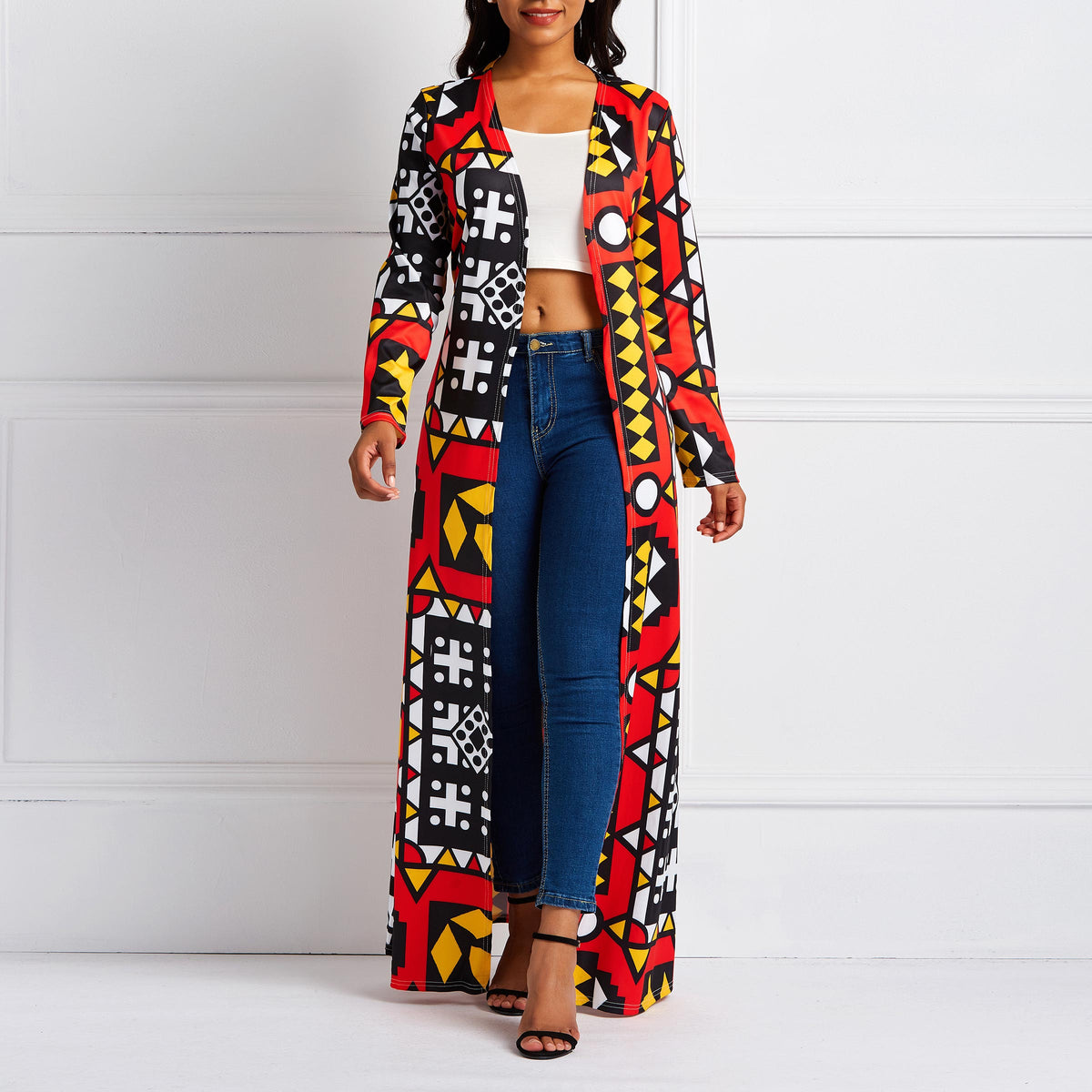 African Ethnic Print Long  Coat